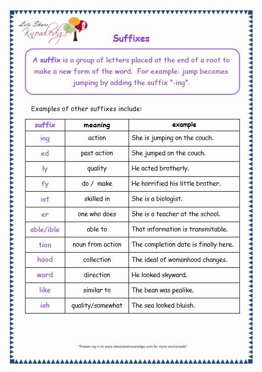 Prefixes and Suffixes Worksheet Fresh Grade 3 Grammar topic 21 Prefix and Suffix Worksheets