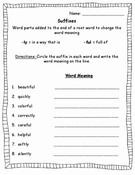 Prefixes and Suffixes Worksheet Fresh Suffixes Worksheet Ly and Ful by Nikki Colletti