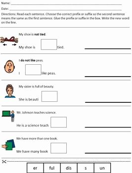 Prefixes and Suffixes Worksheet Inspirational Differentiated Modified Prefix & Suffix Worksheet Special