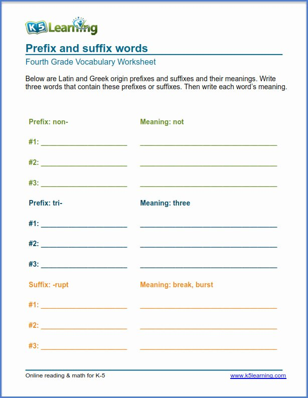 Prefixes and Suffixes Worksheet Inspirational Grade 4 Vocabulary Worksheets Prefixes and Suffixes