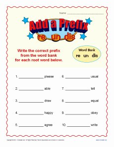 Prefixes Worksheet 2nd Grade Fresh Add A Prefix