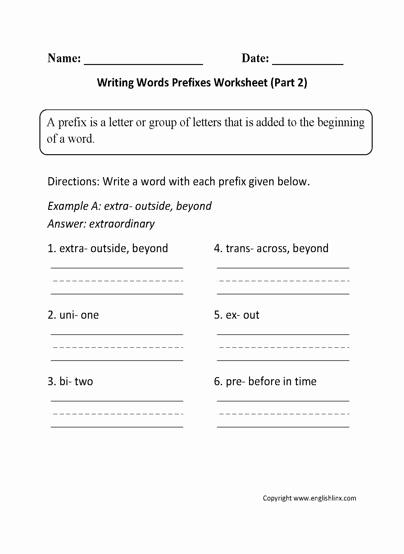 Prefixes Worksheet 2nd Grade Luxury Englishlinx