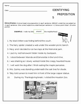 Prepositional Phrase Worksheet with Answers Awesome Prepositions Worksheet Free by Five Dollars or Less