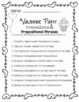 Prepositional Phrase Worksheet with Answers Awesome Valentine Party Prepositions & Prepositional Phrases