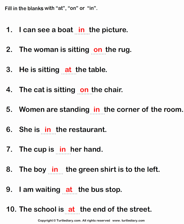 Prepositional Phrase Worksheet with Answers Beautiful Fill In the Blanks with the Appropriate Preposition at In