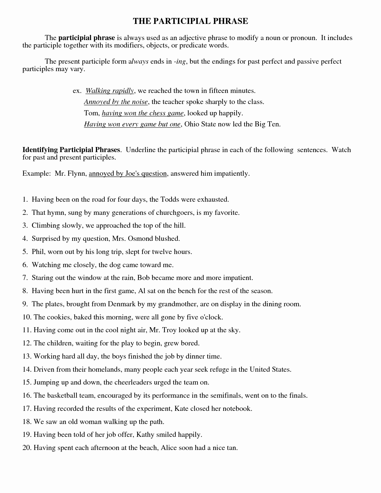 Prepositional Phrase Worksheet with Answers Best Of 15 Best Of Participle Phrase Worksheets and Answers