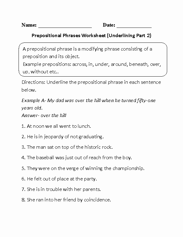 Prepositional Phrase Worksheet with Answers Best Of 17 Best Of Prefixes and Suffixes Worksheets 4th