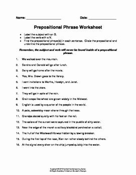 Prepositional Phrase Worksheet with Answers Elegant Prepositional Phrase Worksheet by Family 2 Family Learning