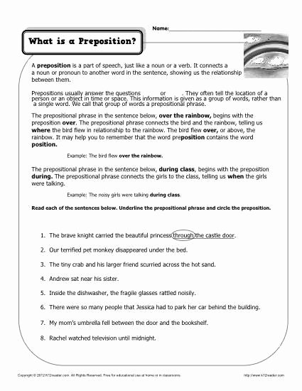 Prepositional Phrase Worksheet with Answers Inspirational What is A Preposition Printable Worksheet