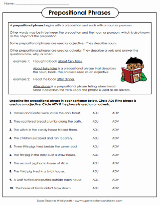Prepositional Phrase Worksheet with Answers New Adverb Worksheets