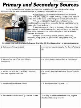 Primary and Secondary sources Worksheet Awesome Primary or Secondary source Worksheet by Middle School