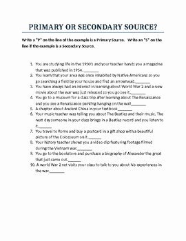 Primary and Secondary sources Worksheet Fresh Primary and Secondary sources Worksheet by Pete S