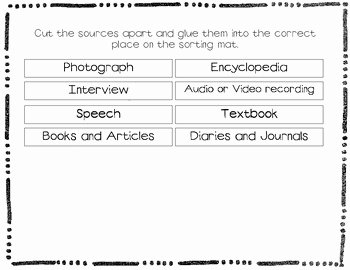 Primary and Secondary sources Worksheet Inspirational Primary and Secondary sources sorting Activity by