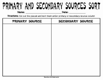 Primary and Secondary sources Worksheet Inspirational Vs 1 Primary and Secondary sources sort