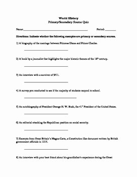 Primary and Secondary sources Worksheet Lovely Primary and Secondary source Worksheet by Brythe