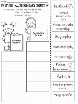 Primary and Secondary sources Worksheet Lovely Primary and Secondary sources Cut and Paste sorting
