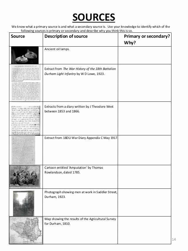 Primary and Secondary sources Worksheet Lovely Primary and Secondary sources Worksheet