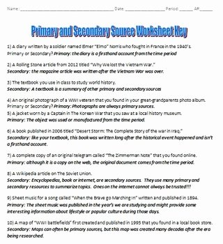 Primary and Secondary sources Worksheet Lovely Primary Vs Secondary sources Activity by Drew Bailey