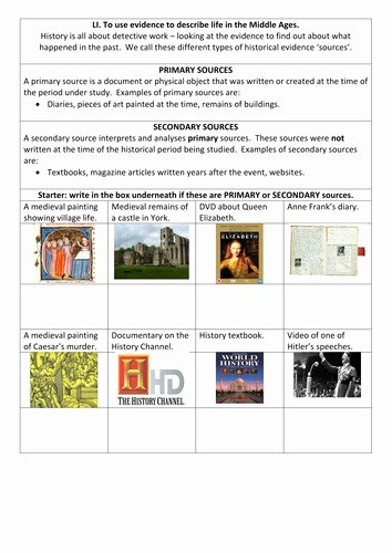 Primary and Secondary sources Worksheet New Primary and Secondary sources Worksheet