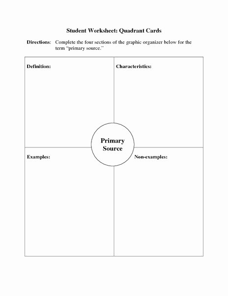 Primary and Secondary sources Worksheet Unique Primary source Quadrant Cards Printables & Template for