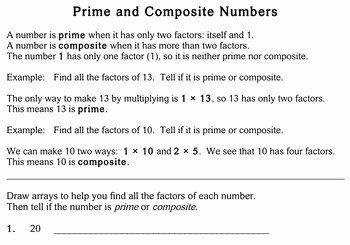 Prime and Composite Numbers Worksheet Beautiful Prime & Posite Numbers 4th Grade Worksheets