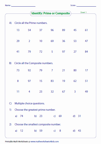 Prime and Composite Numbers Worksheet Elegant Prime and Posite Numbers Worksheets