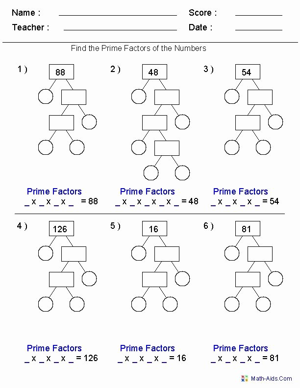 Prime Factorization Worksheet Pdf Awesome Prime Factorization Trees Factors Worksheets Use for