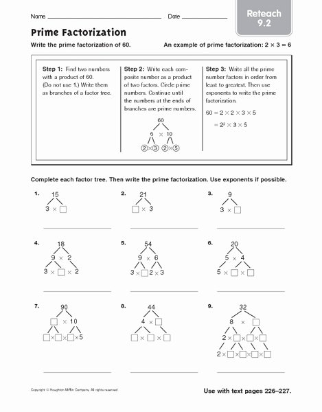 Prime Factorization Worksheet Pdf Unique Prime Factorization Reteach 9 2 Worksheet for 4th 6th