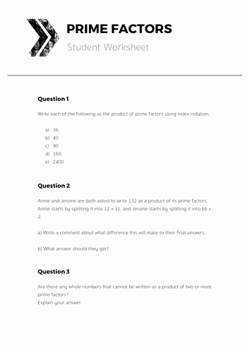 Prime Factorization Worksheet Pdf Unique Prime Factors Plete Lesson by tomotoole Uk Teaching