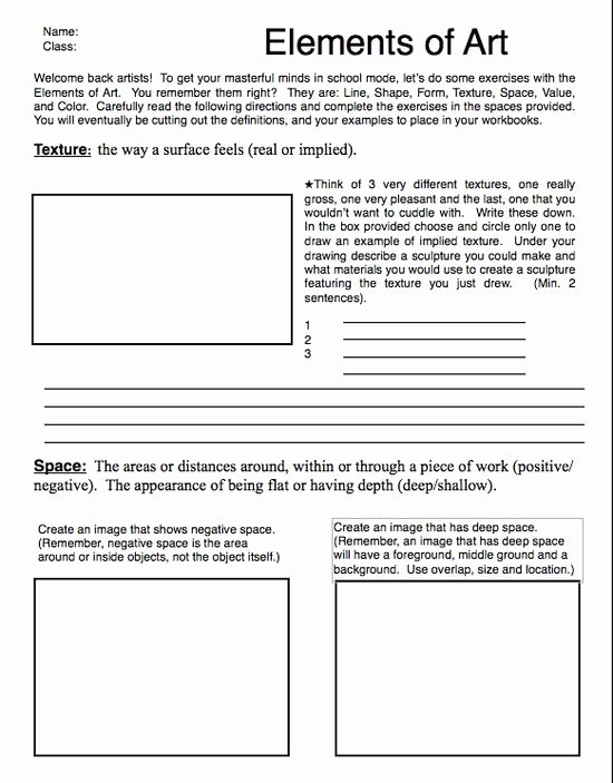 Principles Of Design Worksheet Elegant Elements Art Worksheets