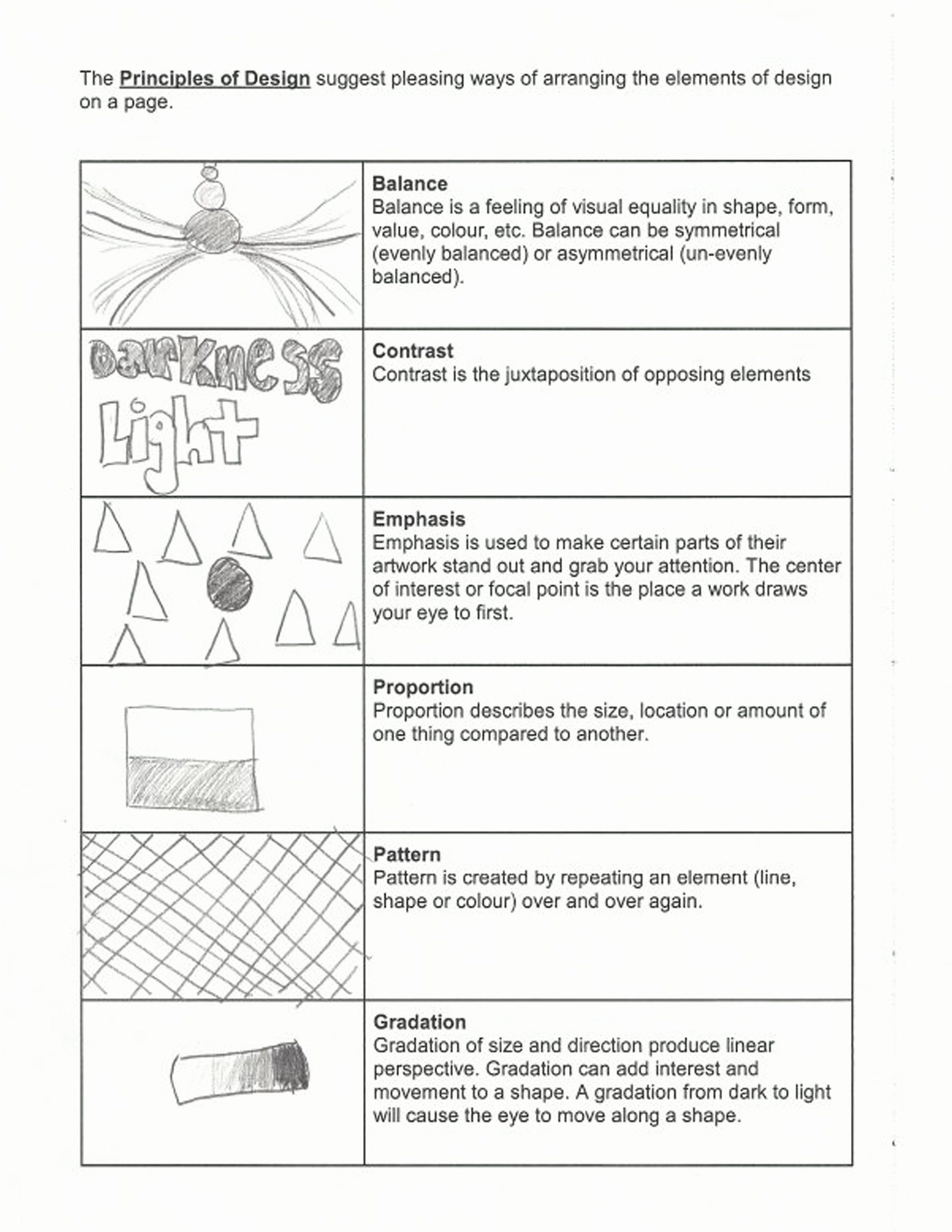 Principles Of Design Worksheet Elegant Elements Principle Design Worksheet