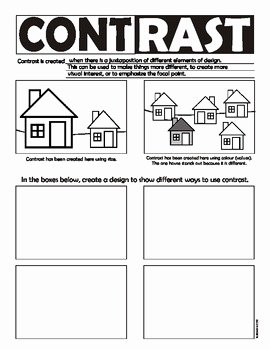 Principles Of Design Worksheet Fresh Contrast Principles Of Art Design Worksheet Canadian