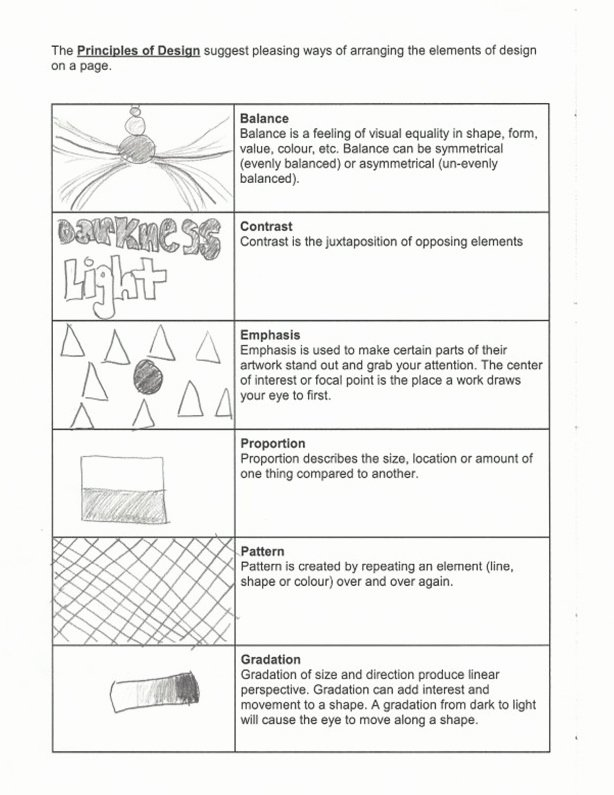 Principles Of Design Worksheet Fresh Elements Principle Design Worksheet