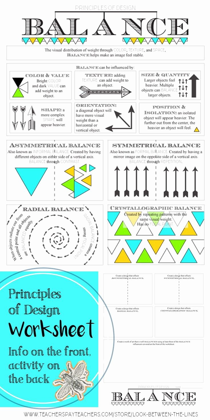 Principles Of Design Worksheet Fresh Principles Of Design Balance Middle or High School In