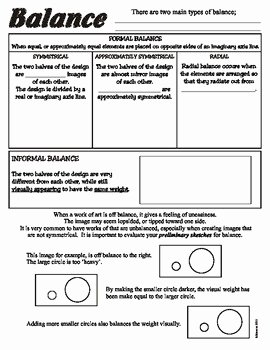 Principles Of Design Worksheet Luxury Balance Principles Of Art Design Worksheet by Artsycat