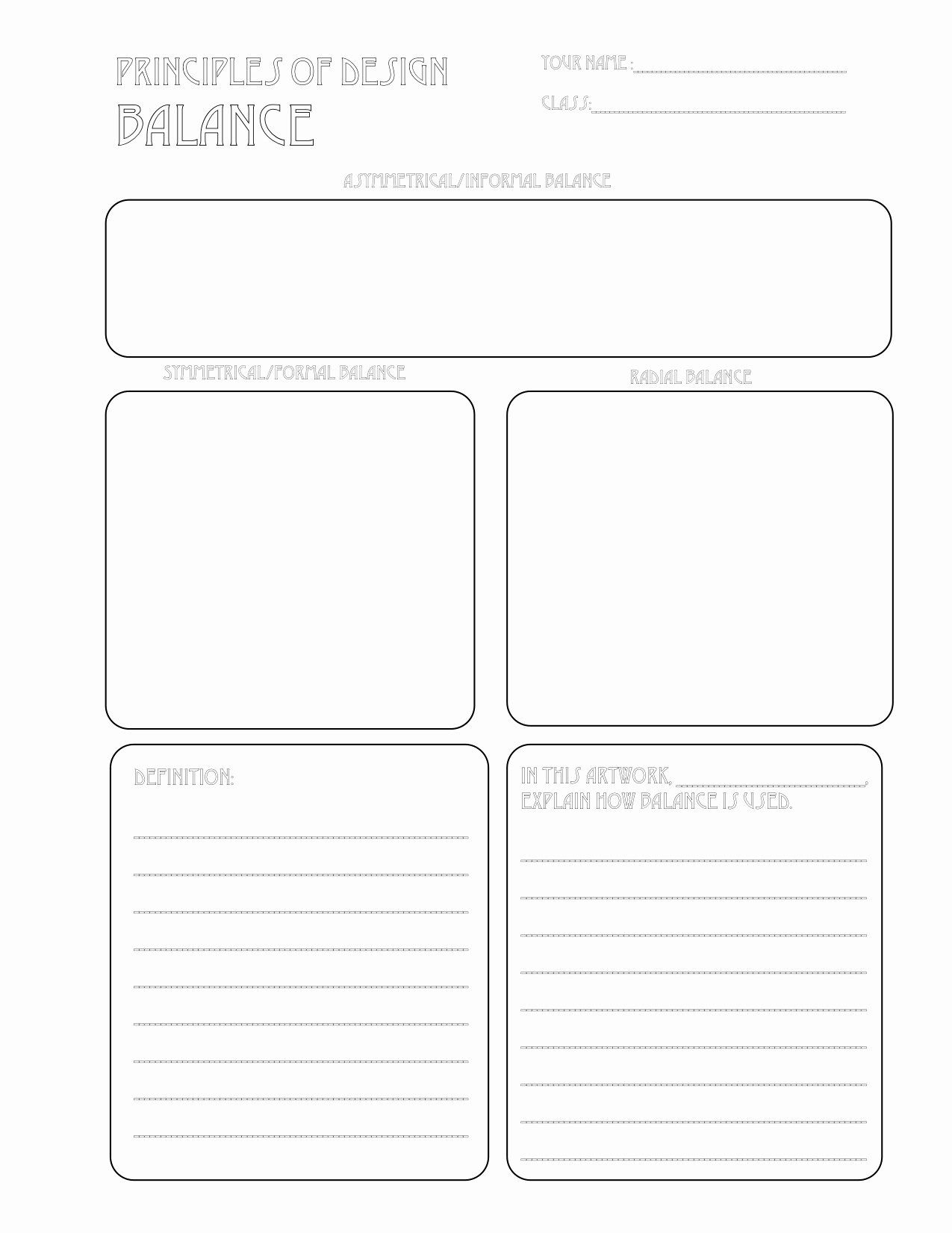 Principles Of Design Worksheet New the Smartteacher Resource Balance Handout