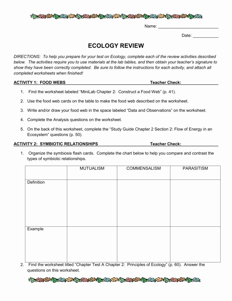 Principles Of Ecology Worksheet Answers Best Of Ecology Review