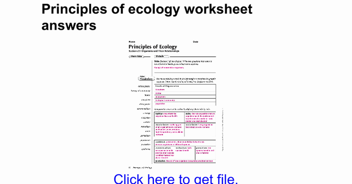 Principles Of Ecology Worksheet Answers Luxury Principles Ecology Worksheet Answers Bluegreenish