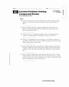 Probability Of Compound events Worksheet Elegant Pound events Lesson Plans & Worksheets