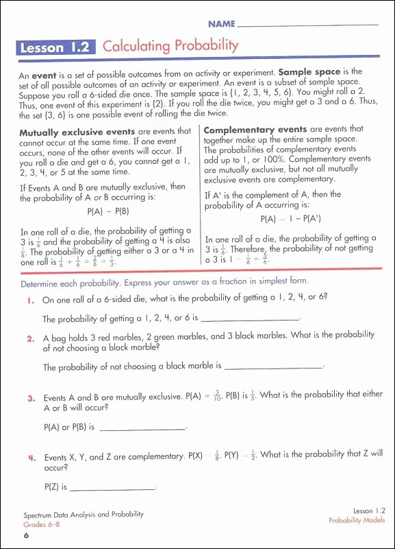 Probability Of Compound events Worksheet Fresh Probability Pound events Worksheet with Answer Key