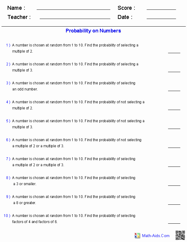 Probability Of Compound events Worksheet Inspirational Probability Worksheets