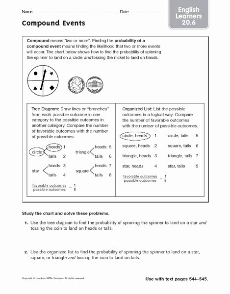 Probability Of Compound events Worksheet Lovely Pound events Lesson Plans & Worksheets