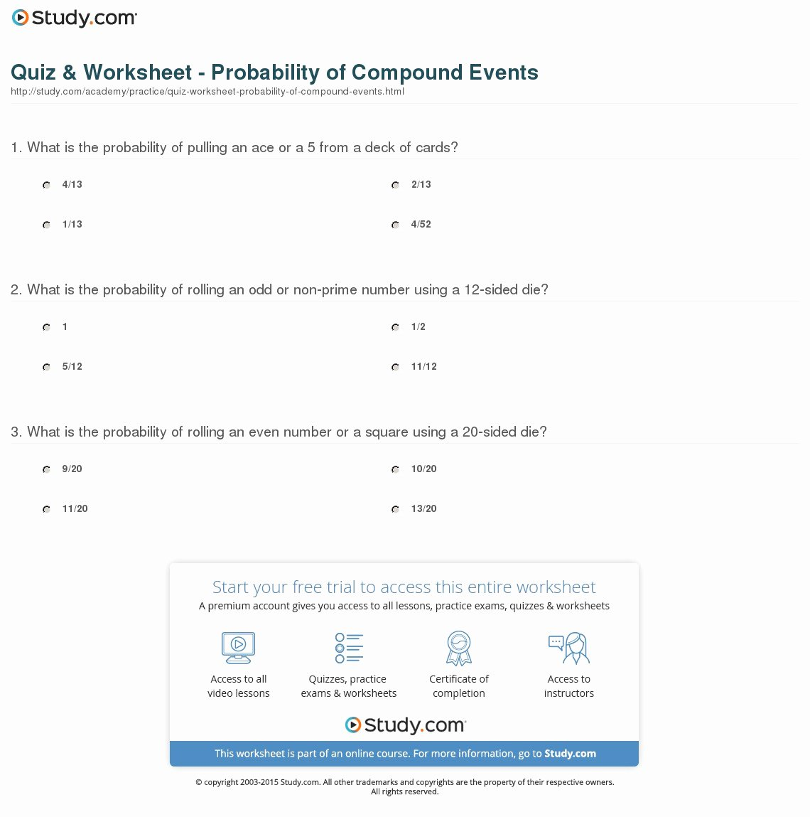 Probability Of Compound events Worksheet New Quiz & Worksheet Probability Of Pound events