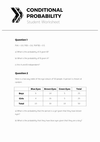 Probability Worksheet High School Awesome Conditional Probability Worksheet