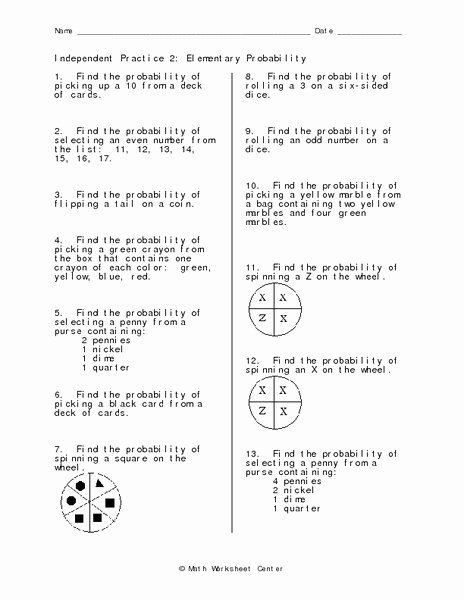 Probability Worksheet High School Fresh Independent Practice 2 Elementary Probability Worksheet