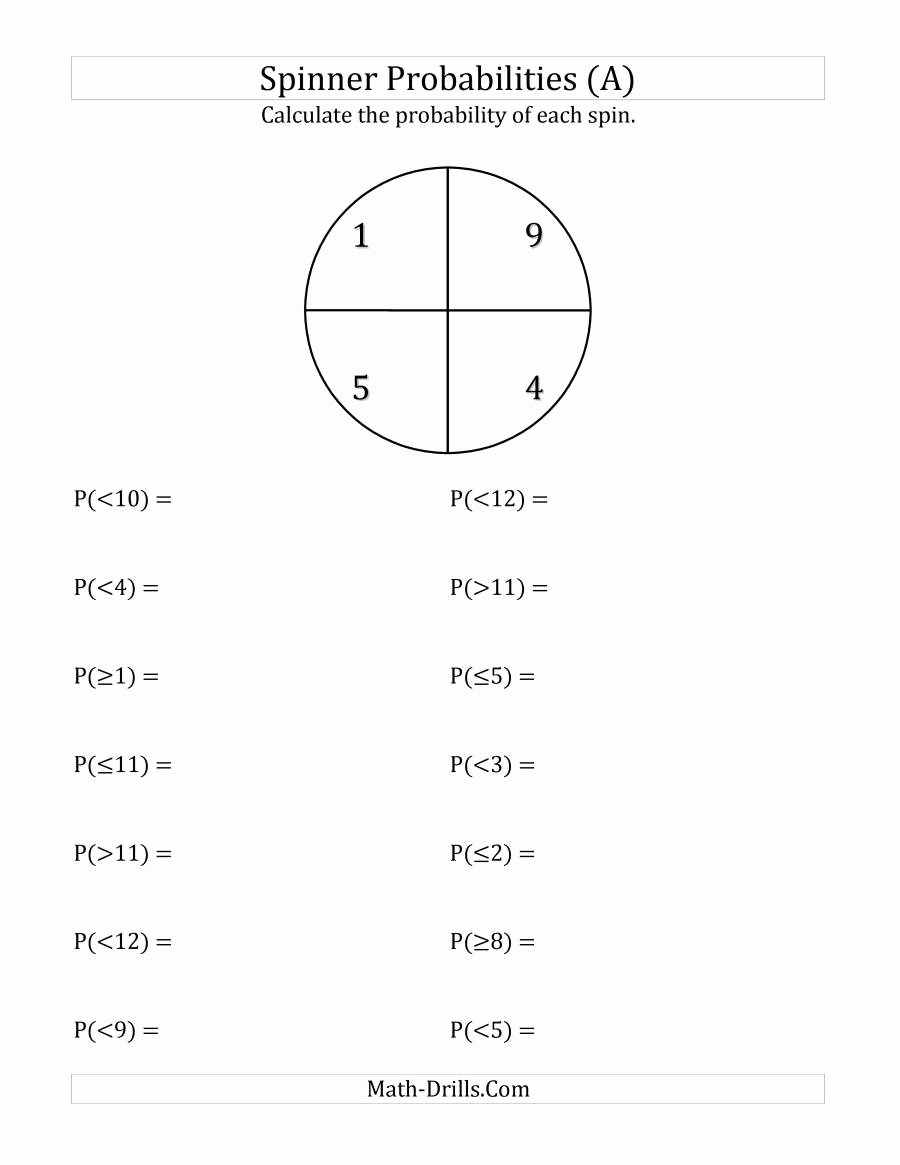 Probability Worksheet High School Inspirational 4 Section Spinner Probabilities A