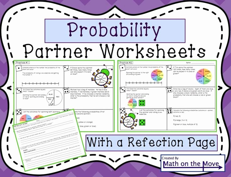 Probability Worksheet High School Lovely Probability Partner Practice Worksheets Reflection