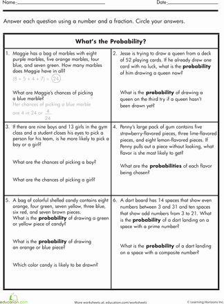 Probability Worksheet High School Lovely What S the Probability Math