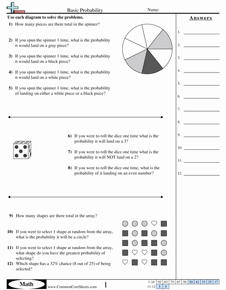 Probability Worksheet High School Unique Probability Worksheets