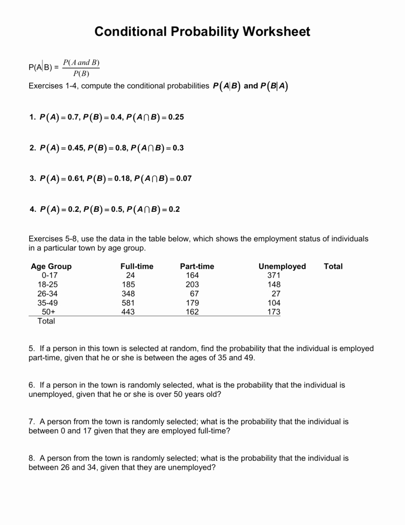 Probability Worksheet with Answers Elegant Conditional Probability Worksheet 12 2 Answer Key